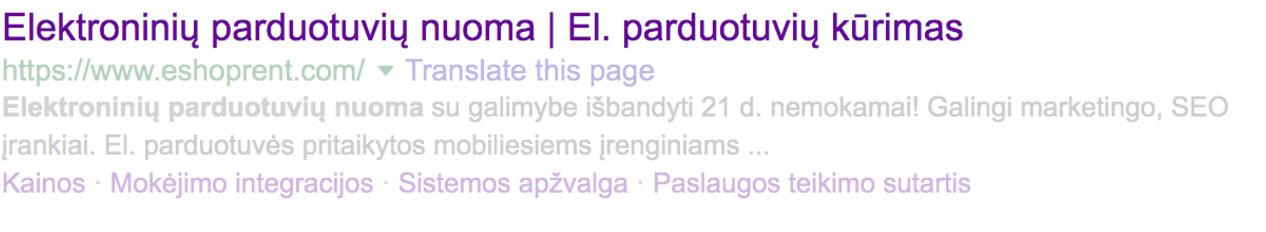 Puslapio antraštė paieškos sistemose